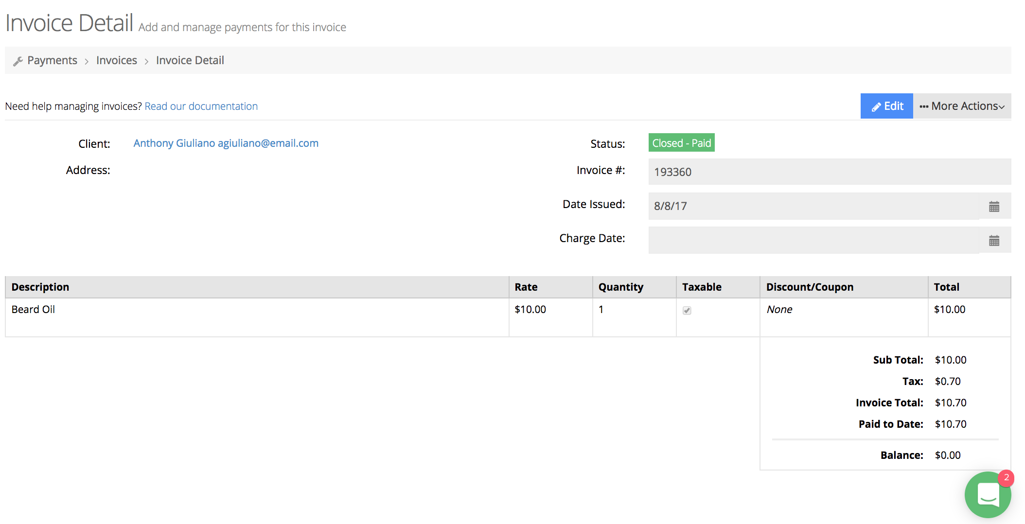 Client invoice is complete