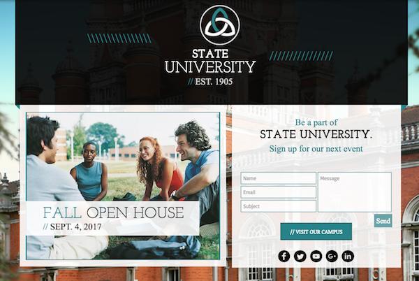 Sample university website