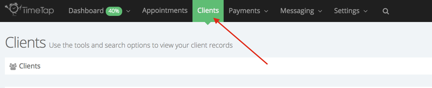 """Go to the """"Clients"""" tab"""