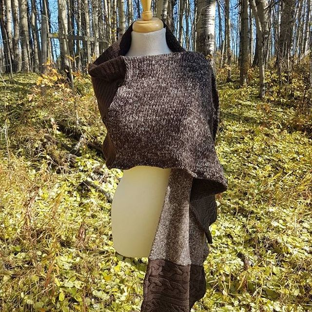 Just added this cozy piece to my Etsy Shop! It can funtion as a shall or a scarf on these chilly fall days, or for the even cooler winter days.  It is made from 6 different pre worn sweaters, and is completely one of a kind.  Tag a friend who is always cold and could use this to stay warm this fall/winter.  Link to my shop is in profile. • • • • #yeg #yegmade #alberta #stalbert #stonyplain #sprucegrove #etsymagazine #etsyedmonton #etsycanada #zerowastefashion #fallfashion #slowfashion #staywarm #cozy #ilovefall #fallchic #yyc #coldgirl #sweaterweather #autumn #stylish #bringonfall #repurposedwithlove