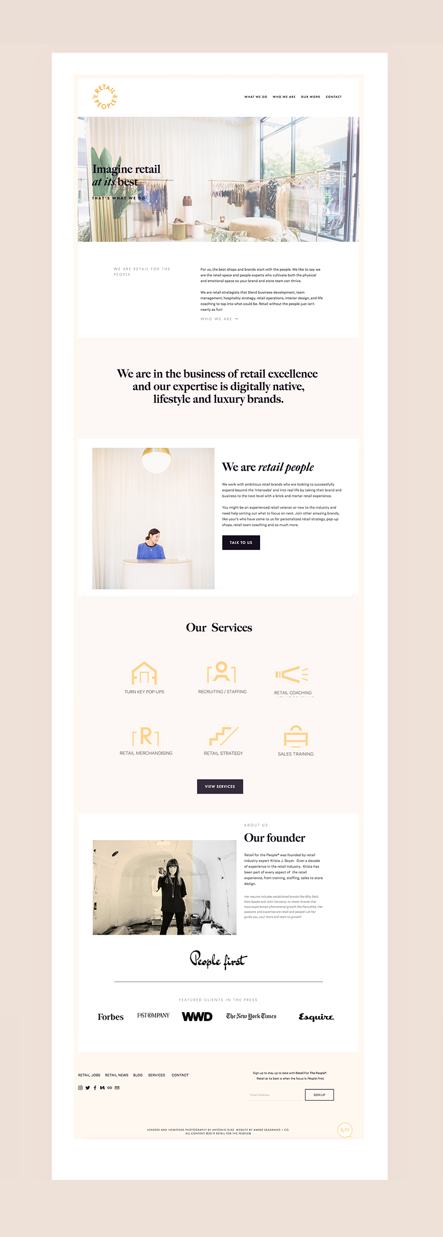 Retail for the People website by Amber Seagraves