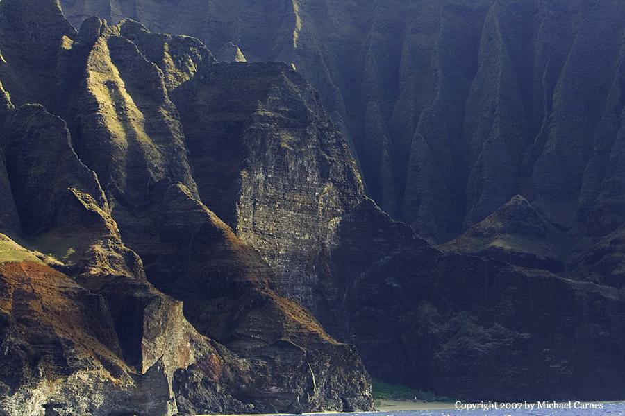 The rugged Na'apali Coast, seen from the water. Kaua'i