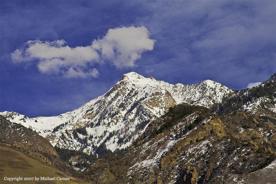 Broads ForkTwin Peaks in winter, as seen from my back yard