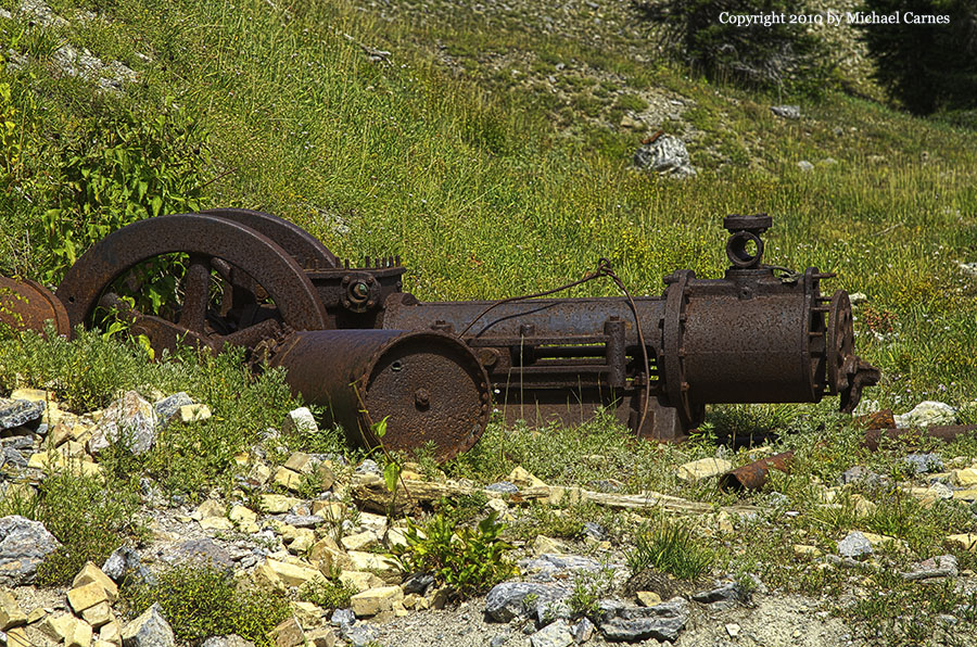 An old steam engine remains at the Eclipse Mine at Days Fork