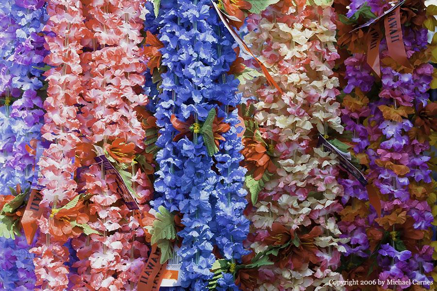 Silk leis in the Kona Market