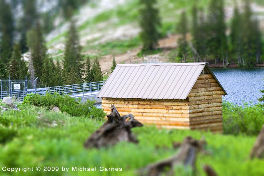 Tilt-shift editing makes a full-sized shack look like a dollhouse