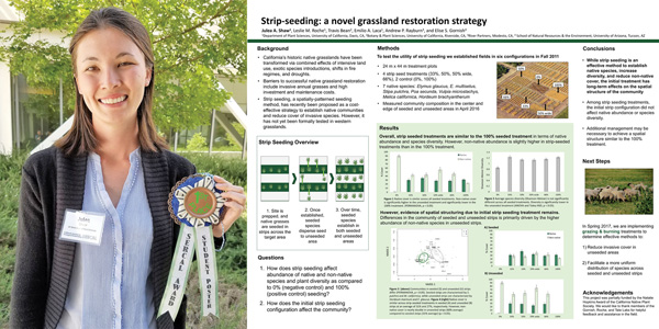 Student Poster Awardee Julea Shaw and her winning poster.