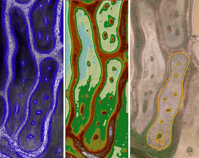 A vernal pool reference site at the Elsie Gridley Mitigation Bank in Solano County. The right pane shows the drone-captured aerial photo. The center pane shows an elevation heat map based off of a digital surface model (DSM) created from the drone aerial photographs. Low elevations are shown in blue and green while higher elevations are shown in red. The left pane shows topographic contours in ¼-foot intervals that were derived from the DSM. This model will be used to analyze pool depth and compare that to hydroperiod and vegetation communities; the resulting information will then be used to design restored vernal pools with specific parameters based off these reference pools. Photo courtesy Airphrame.