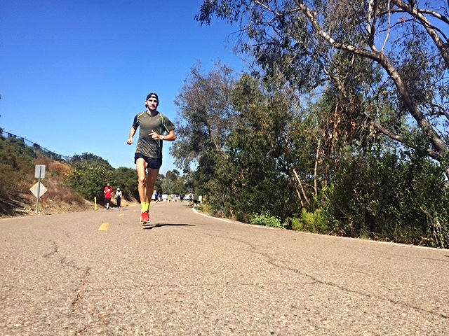 Just a shot from a workout I did on my own at Lake Miramar. 3x2 mile, 2x1 mile.