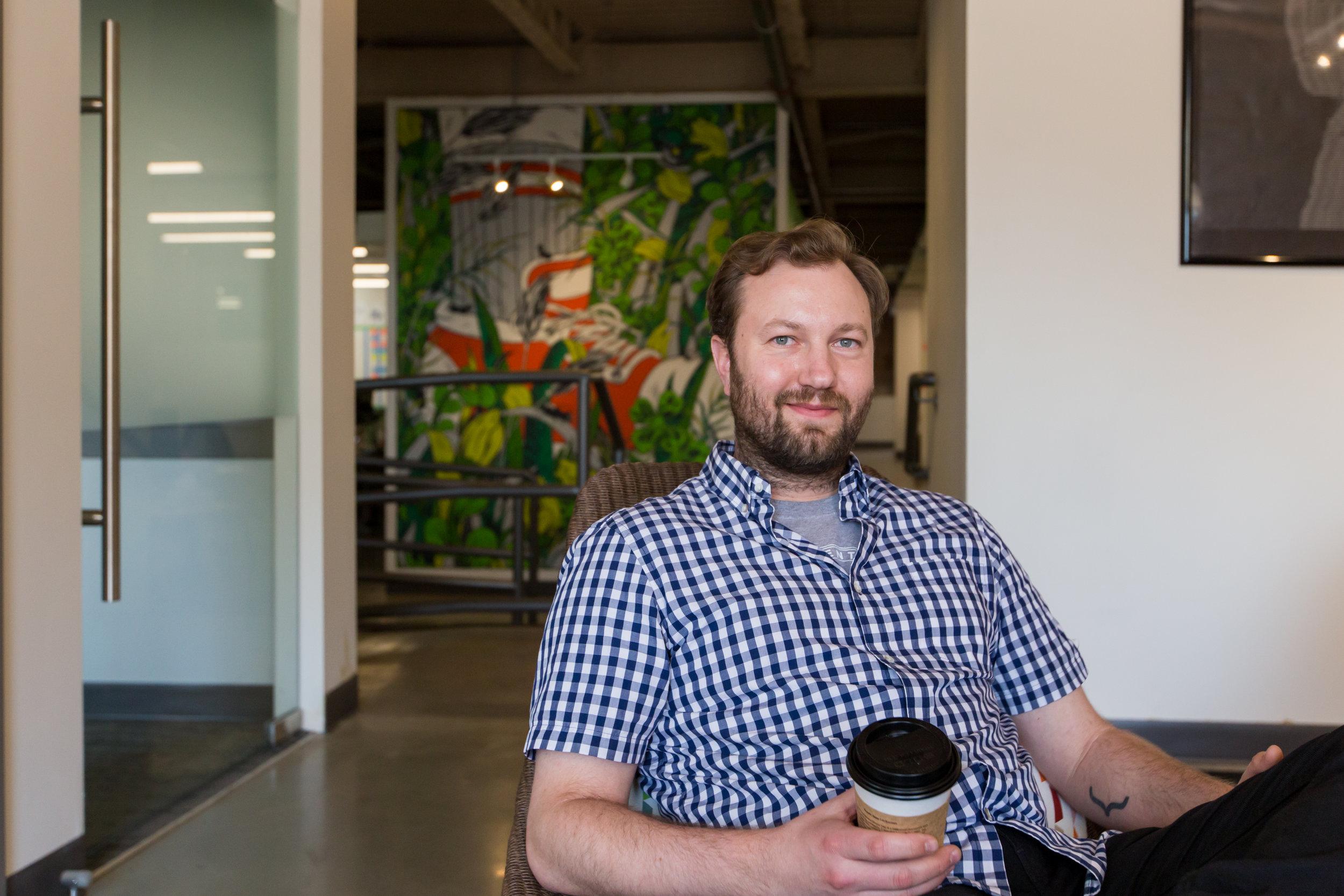 Sam Pillar, Jobber Co-Founder & CEO, in their Edmonton Headquarters on Jasper Avenue.