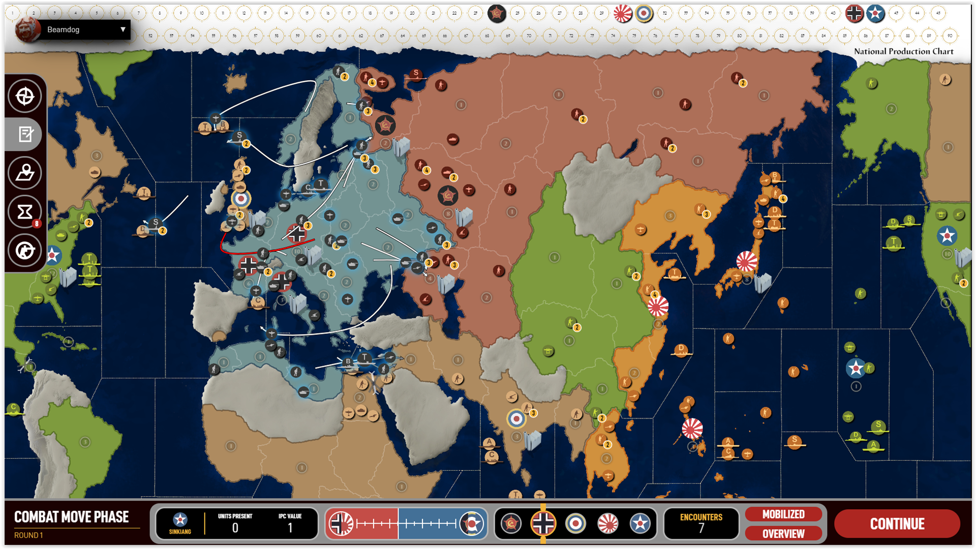 A screenshot of the upcoming  Axis & Allies Online .