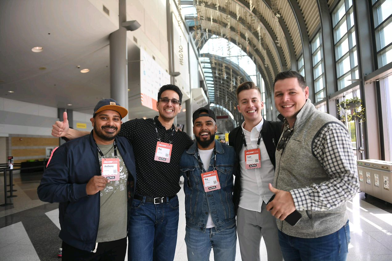 Co-founders Anthony Nagendraraj, Rooh Raj Aujla and Raj Rajakumar (left to right) with members of the Spontivly team at Collision 2019 in Toronto.
