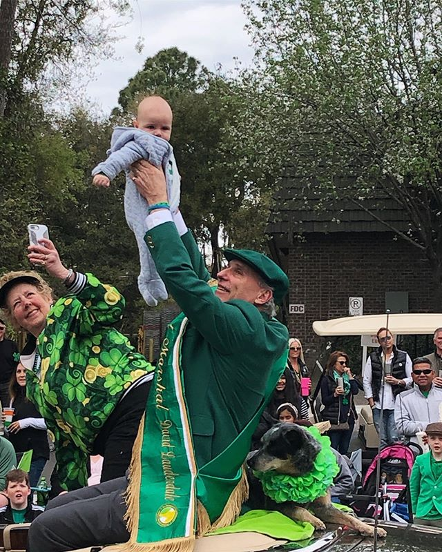 That time your grandfather was the St. Patrick's Day parade grand marshal and stopped everything so he could Simba you in the air. 😂🍀🦁😍 @thatslauderdale @burkelauderdale