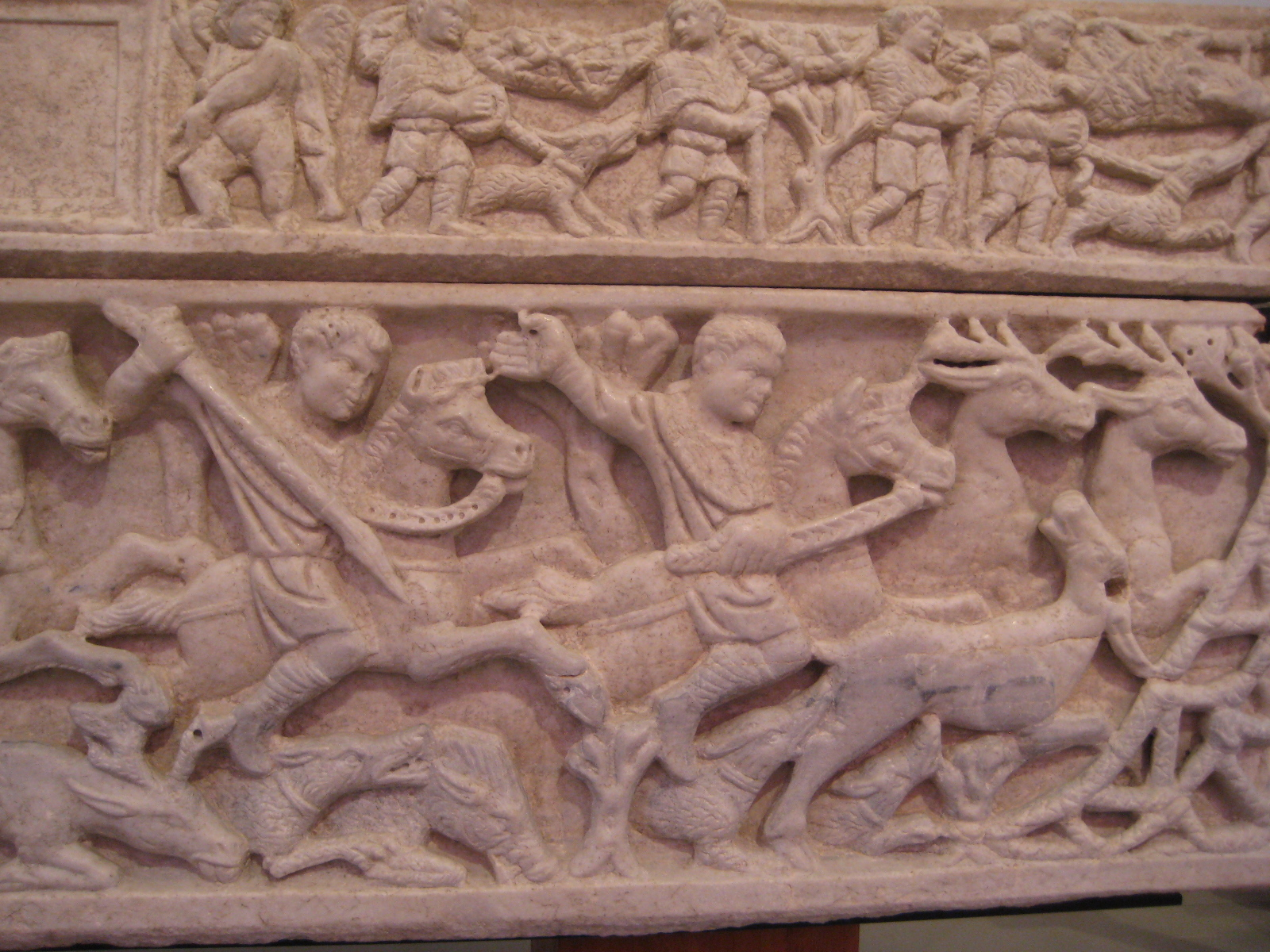 Hunting scene, from a late Roman sarcophagus