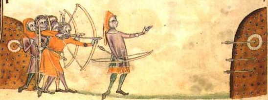 English longbowmen in training, from the Luttrell Psalter of c.1325