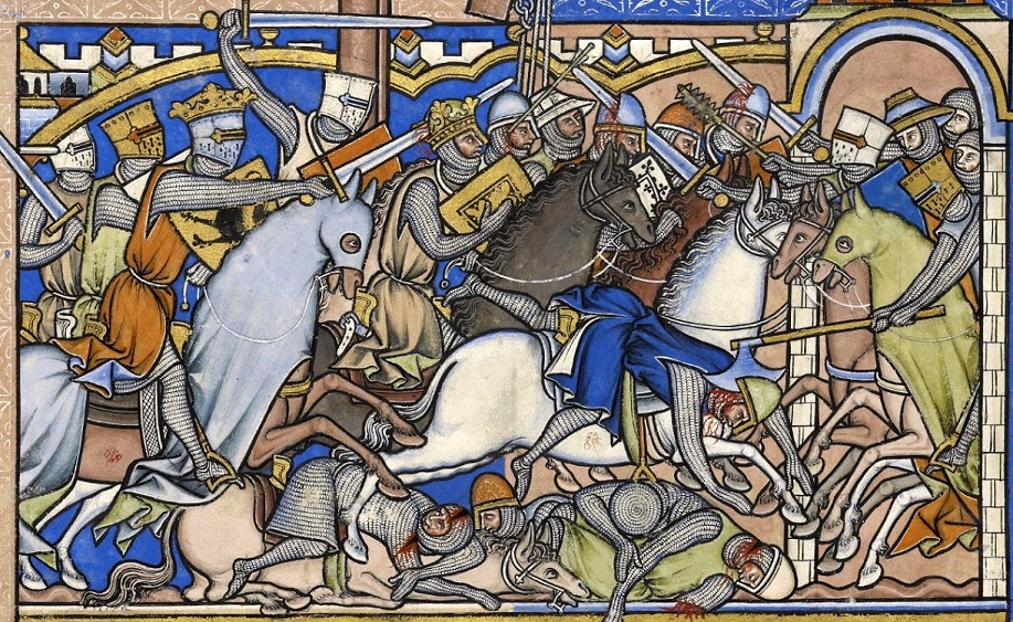 Knights doing what they do best... From the Maciejowski Bible, c.1250