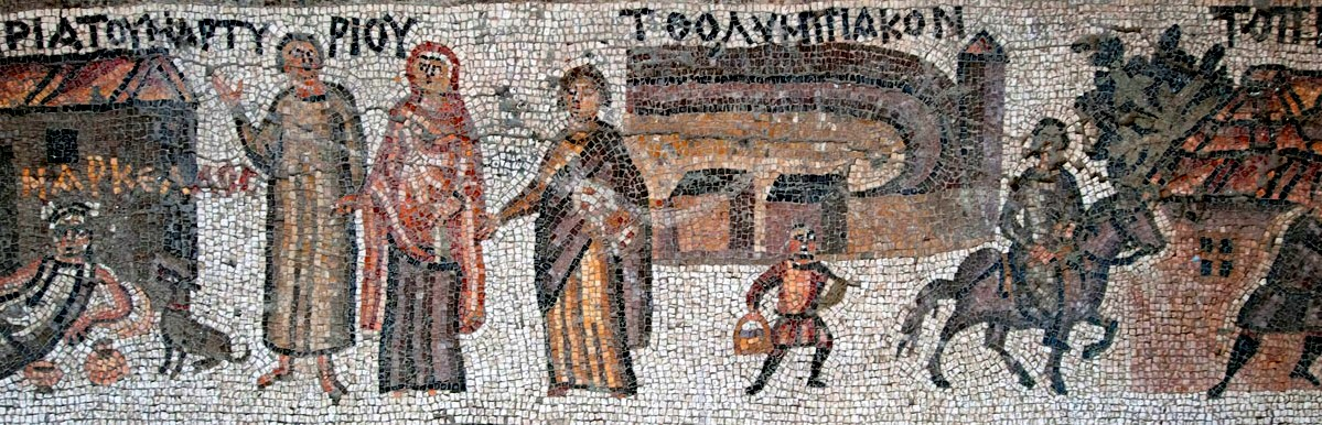 Scenes of everyday life in Antioch, from the 5th century Yakto mosaic.