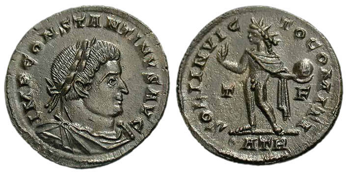 Bronze coin issued by Constantine in AD317. The reverse shows the sun god Sol Invictus, referred to as 'Companion of the Emperor'.