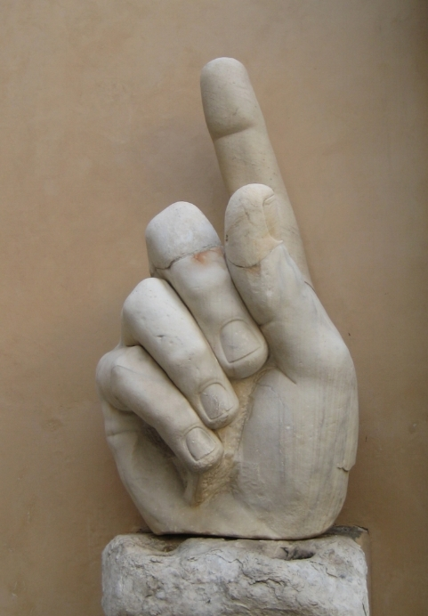The hand from the colossal statue of the emperor Constantine in Rome; originally it would have held a sceptre, probably featuring a Christian monogram.