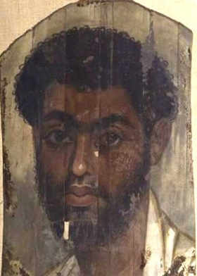 A Romano-Egyptian mummy portrait from Fayum, 2nd-3rd century AD