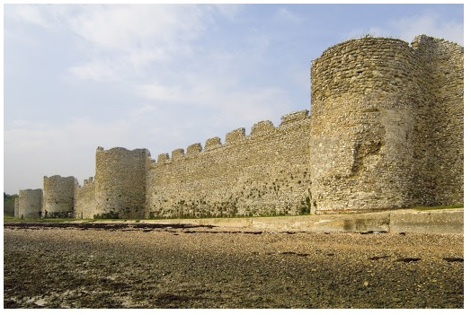 Surviving Roman fortifications at Portchester, a coastal fort originally built in the later 3rd century. The regular Roman garrison was probably withdrawn c.AD407