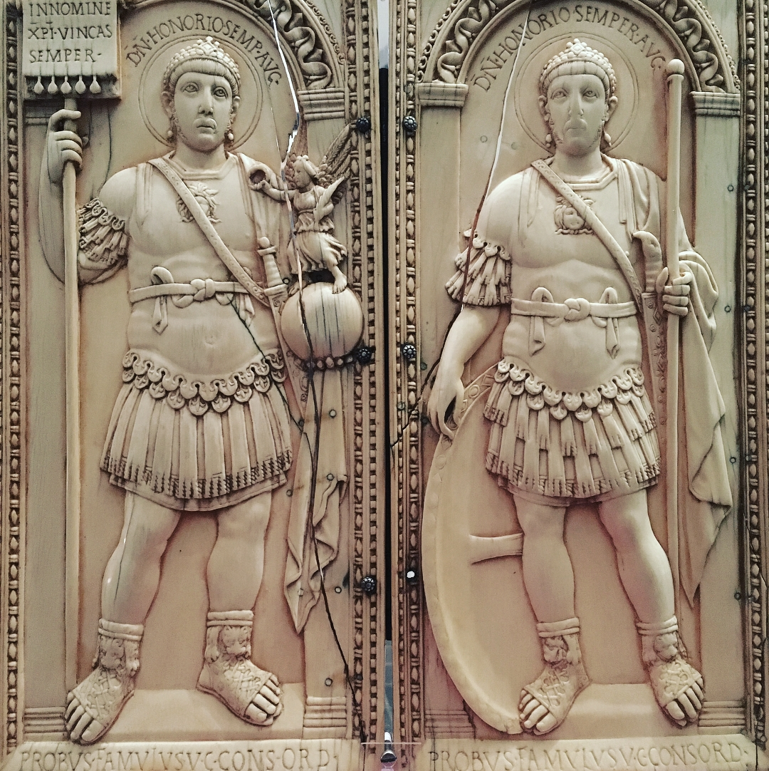 Ivory consular diptych of Anicius Probus, AD406, portraying the Emperor Honorius in martial guise. In reality, the young emperor had no experience of war.