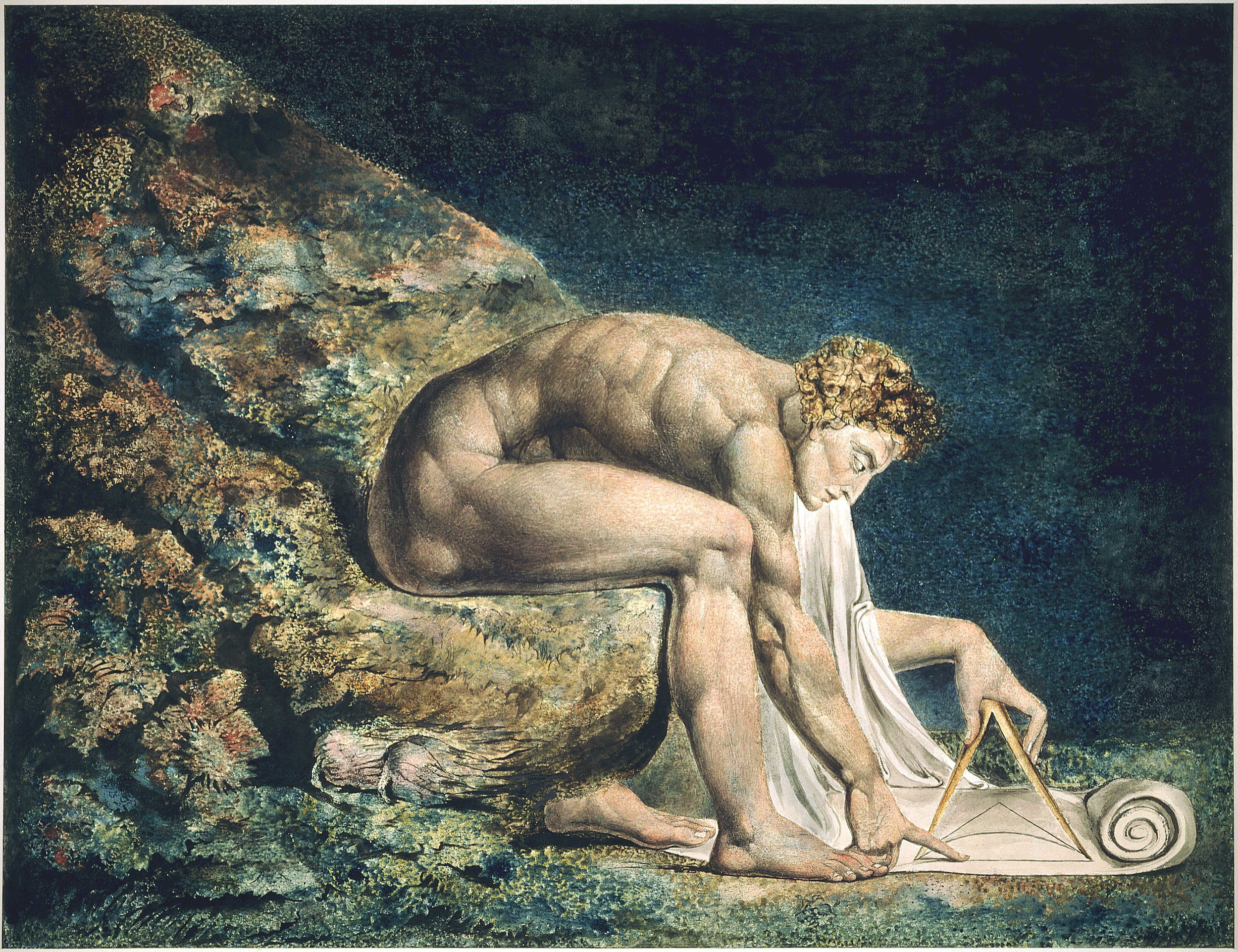 William Blake's Newton (1795), colour print with pen & ink and watercolour.   William Blake Archive/Wikimedia Commons  (public domain)