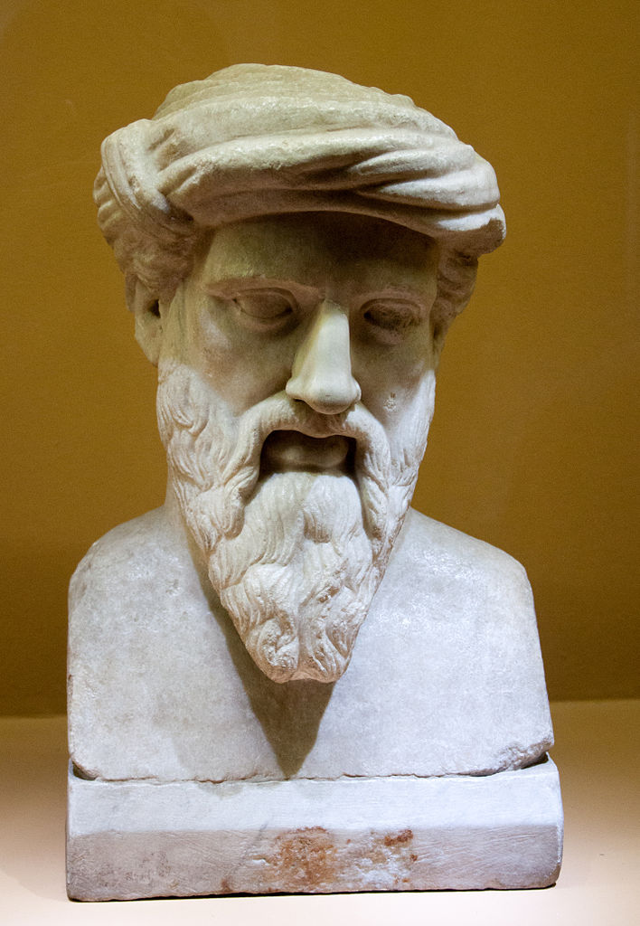 A sculpted likeness of Pythagoras.   Unknown/Wikimedia Commons  (public domain)