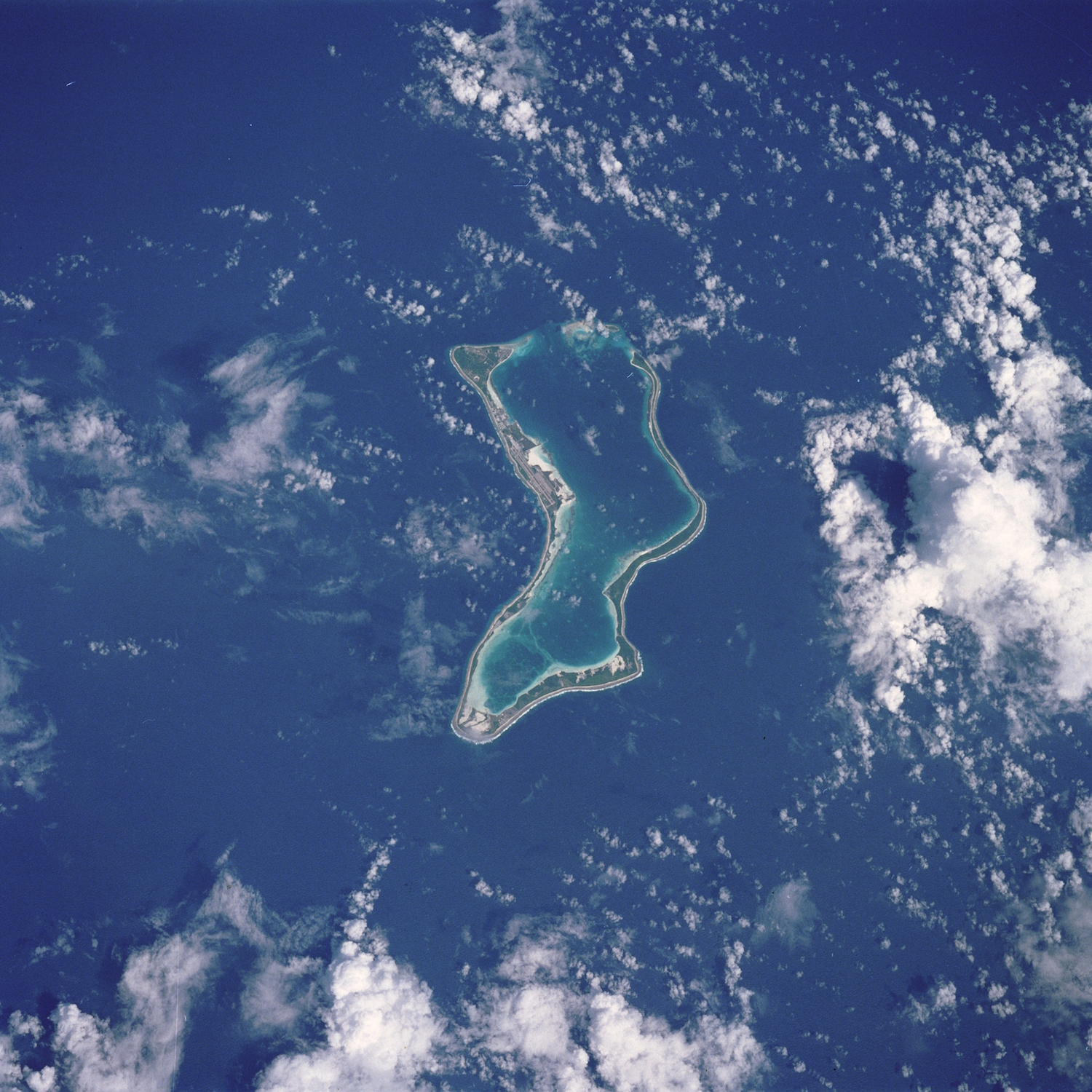 Diego Garcia, the largest of the coral atolls of the Chagos Archipelago.   NASA/Flickr  (CC BY NC 2.0)