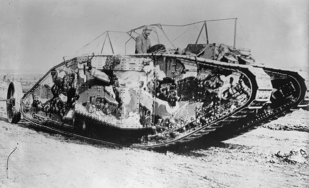Mark I series tank covered in camouflage.   Bain News Service/Wikimedia Commons  (public domain)
