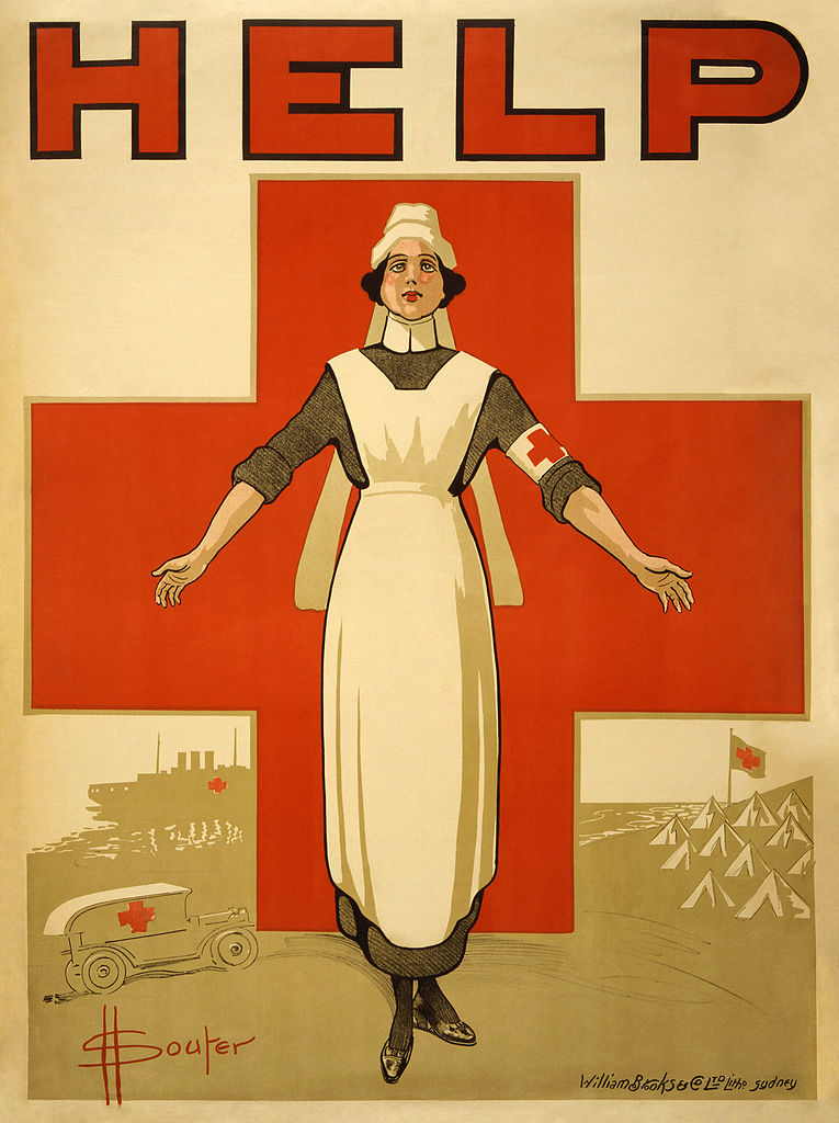 An Australian WWI poster featuring a Red Cross hospital ship.   David Souter Henry/Wikimedia Commons  (public domain)