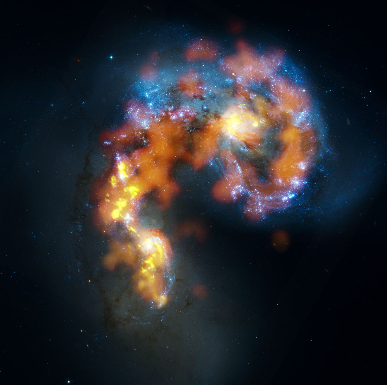 While you can't see dark matter with your eyes, its mass helps in the formation of galaxies.   B. Saxton, (NRAO/AUI/NSF), ALMA (ESO/NAOJ/NRAO). Visible light image: the NASA/ESA Hubble Space Telescope  (CC BY 4.0)