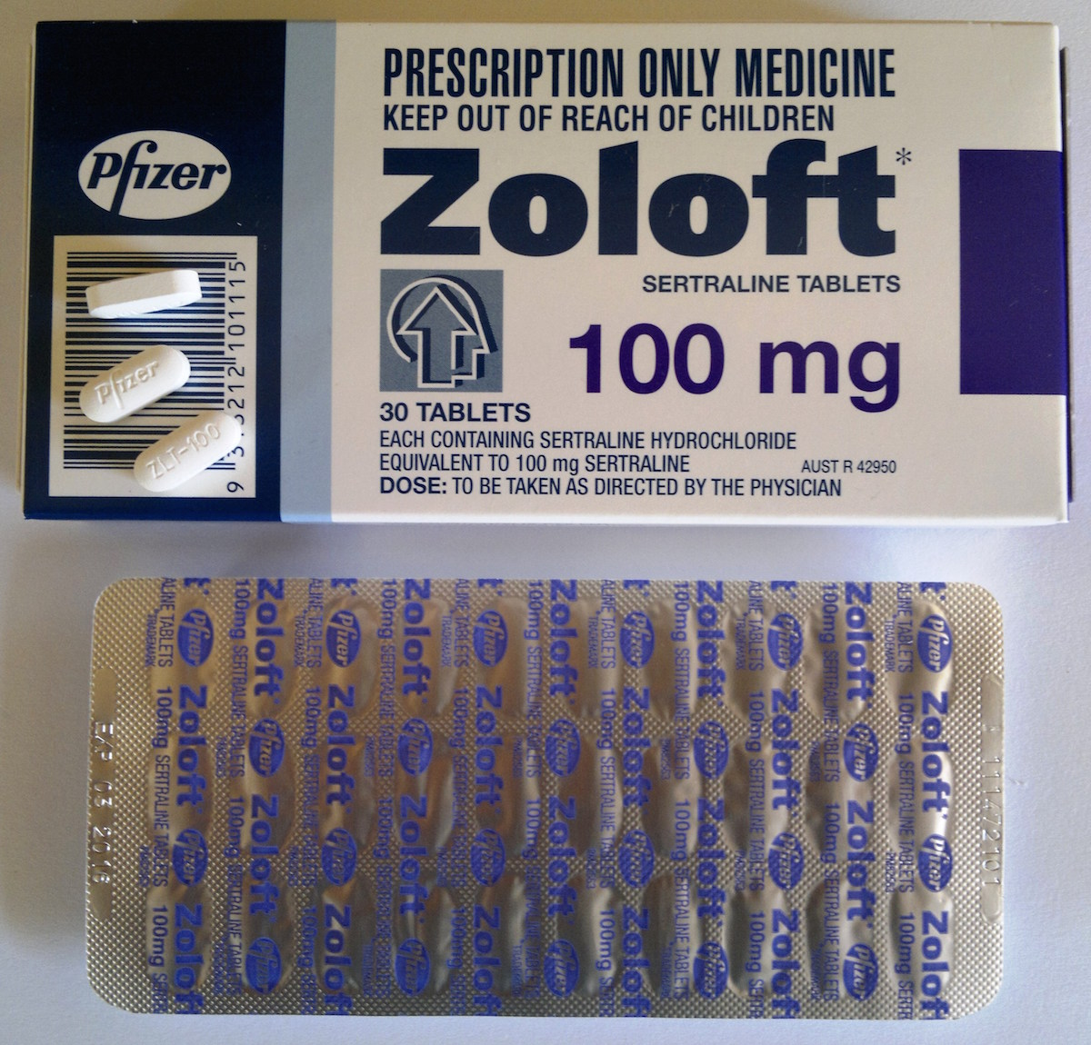 Zoloft, a trade name of the drug sertraline, is an SSRI-class antidepressant.   Editor182/Wikimedia Commons  (public domain)