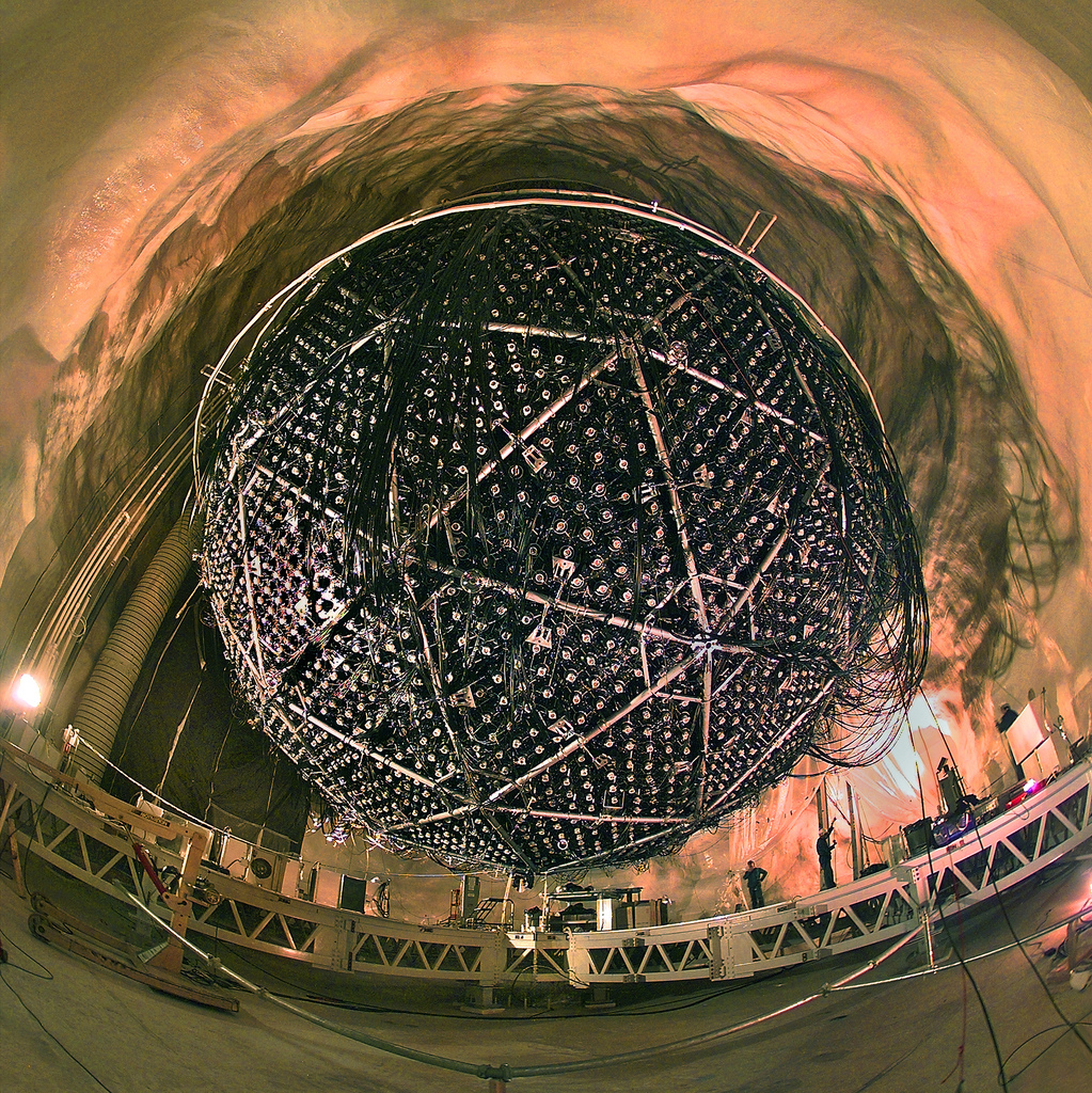 Particle experiments are often held underground, and Sudbury Neutrino Observatory is no exception:it was built in a nickel mine, around 2km below the surface.   Berkeley Lab/Flickr  (CC BY-NC-ND)