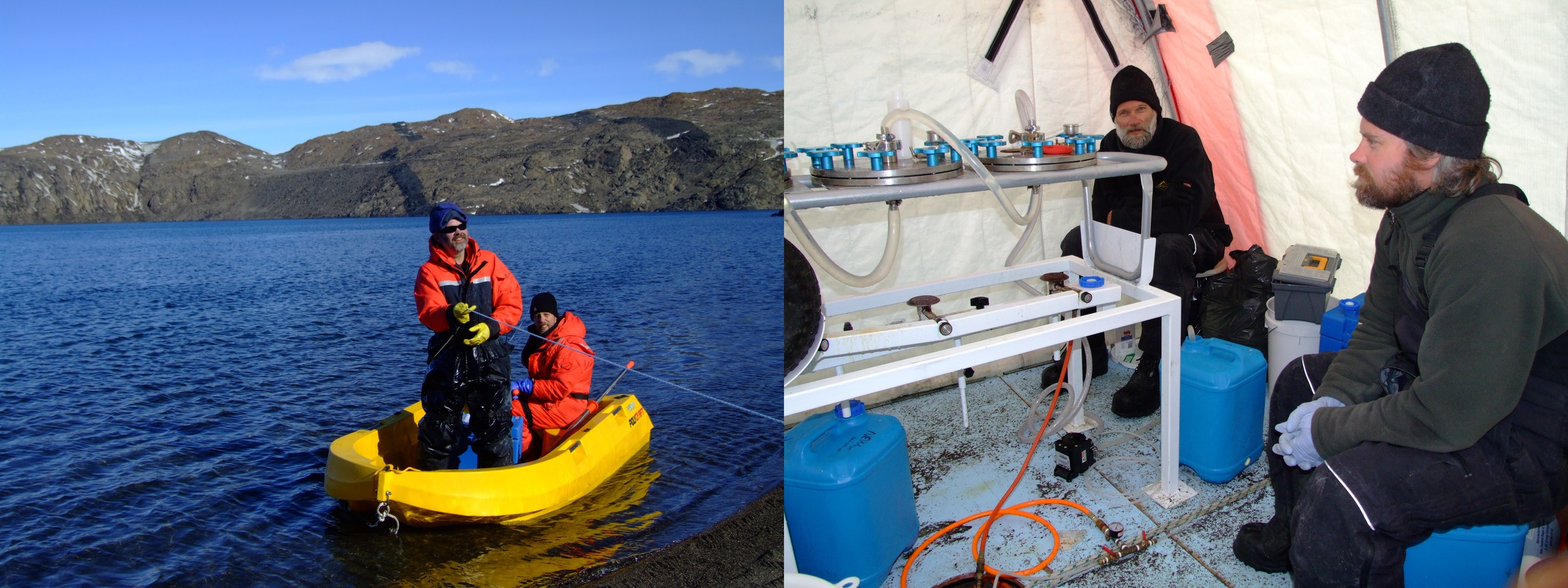 After taking samples from Deep Lake (left), the water undergoes filtration (right) prior to metagenomic analysis back in Sydney.   Photos from 2008 expedition.  Ricardo Cavicchioli (used with permission)