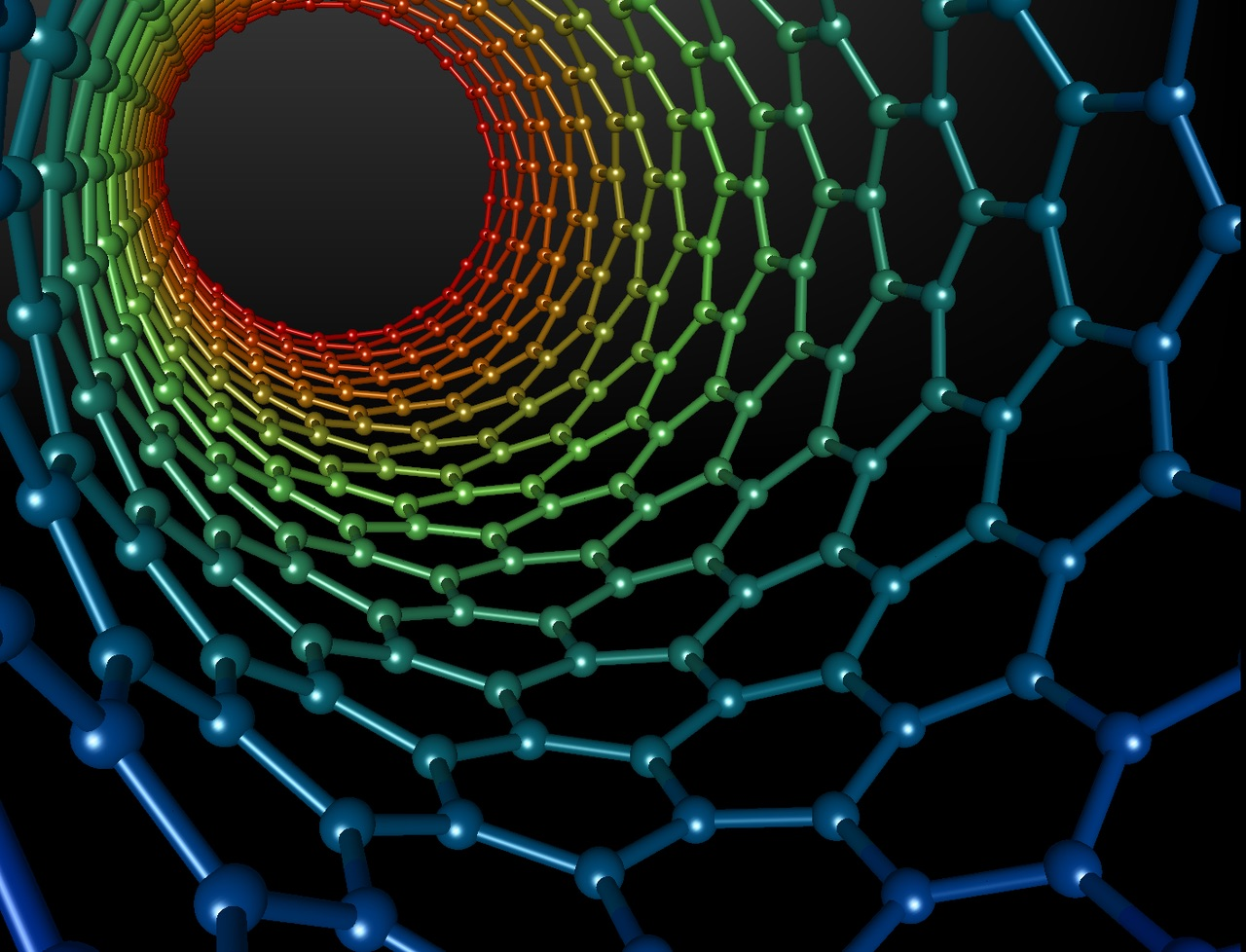 A sheet of graphene can be hypothetically be warped into a carbon nanotube surface.   Mstroeck/Wikimedia Commons  (CC BY-SA 3.0)