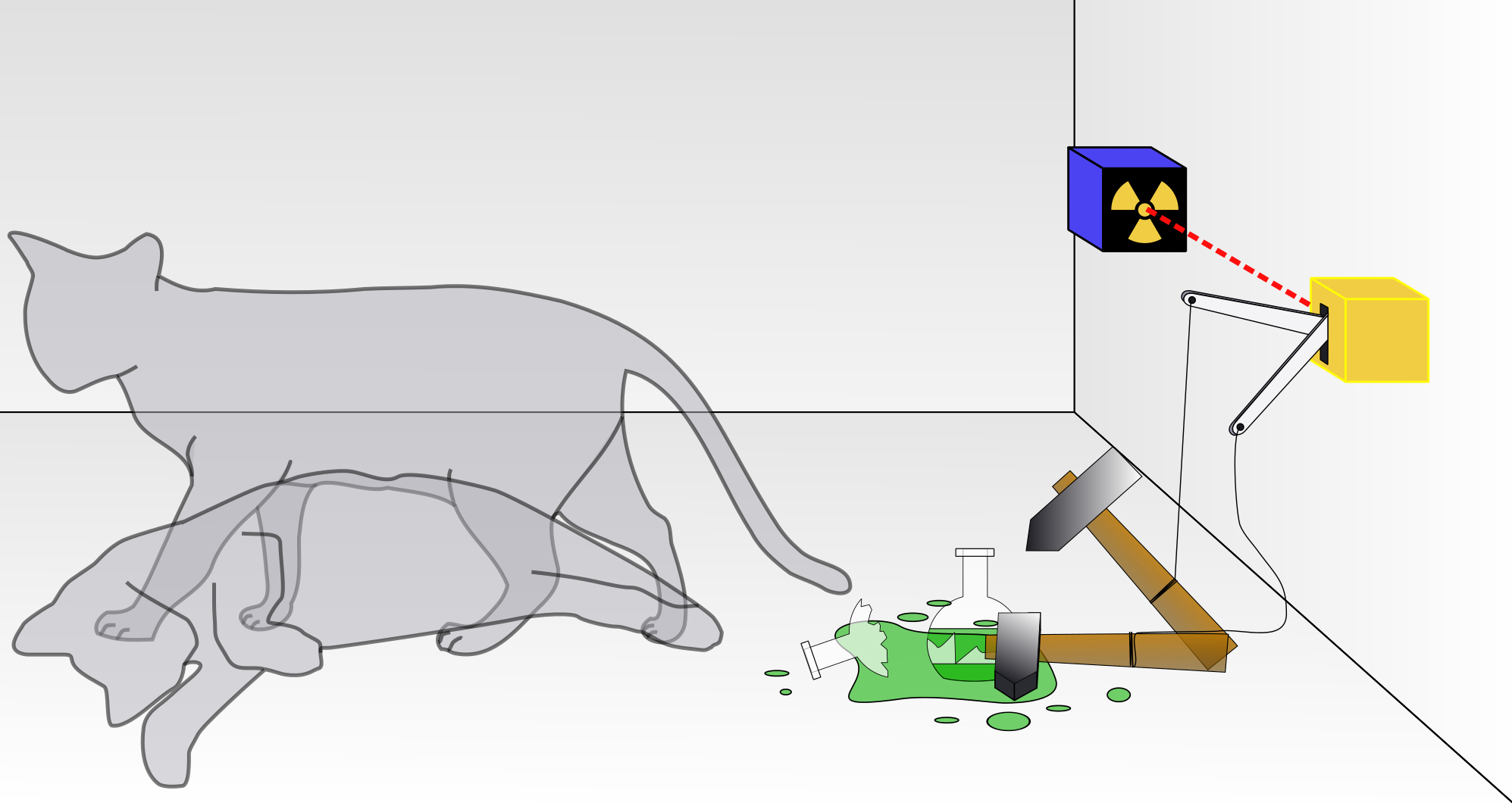 A representation of Schrödinger's cat, in which the animal is simultaneously alive and dead.   Dhatfield/Wikimedia Commons  (CC BY-SA 3.0)