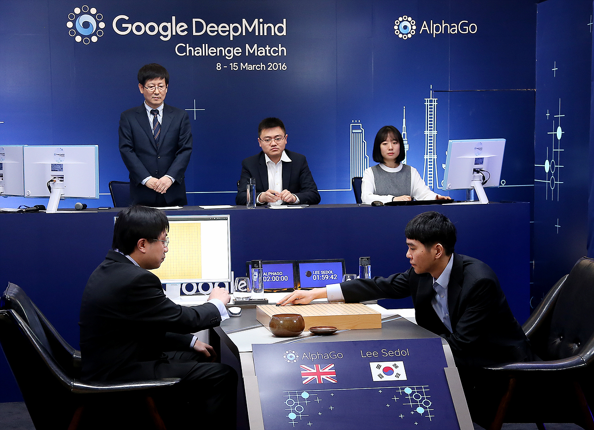 Lee Sedol starts the first of five games against AlphaGo on March 9th.   Game One: AlphaGo vs. Lee Sedol (March 9)/Google Press