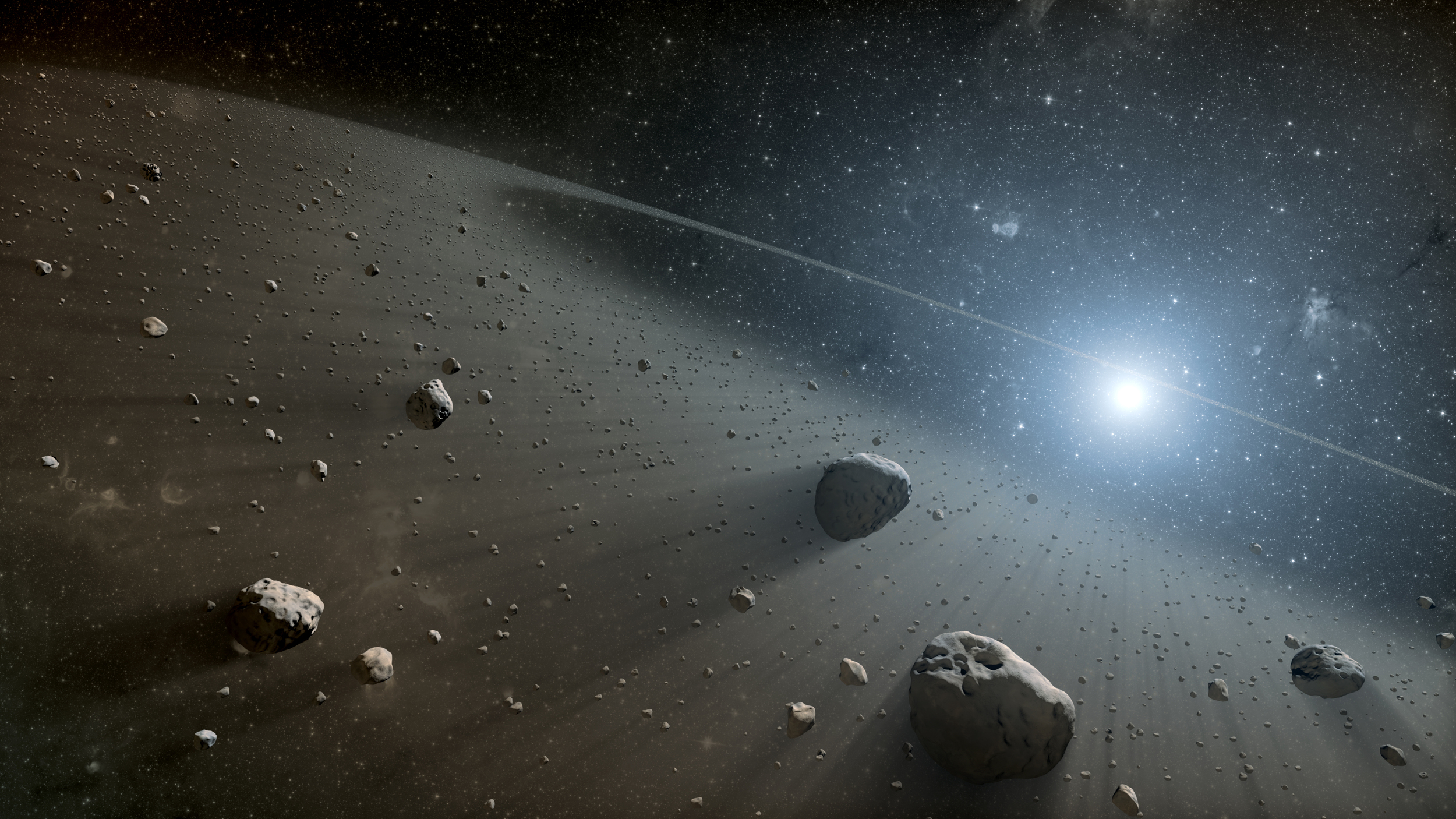 In the 19th century, objects that were too small lost their planet status and reclassified as asteroids.  Artist impression of asteroid belt.     NASA/JPL-Caltech/Wikimedia Commons    (public domain)