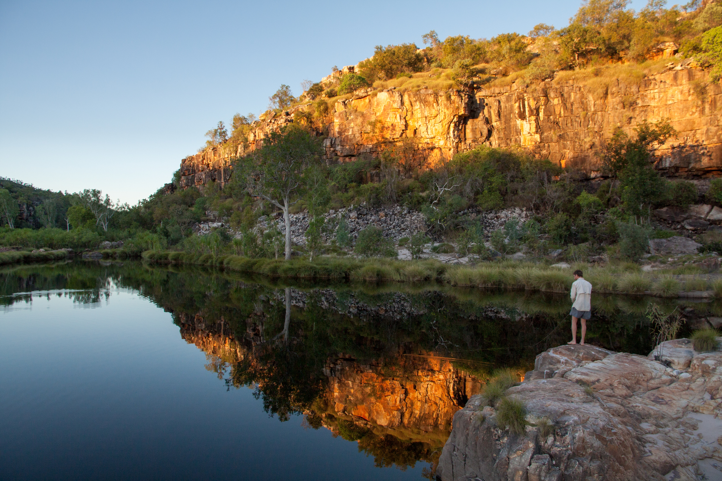 Aquatic ecologist James Shelley fishes for new species in the remote Kimberley.  © Matt Le Feuvre.