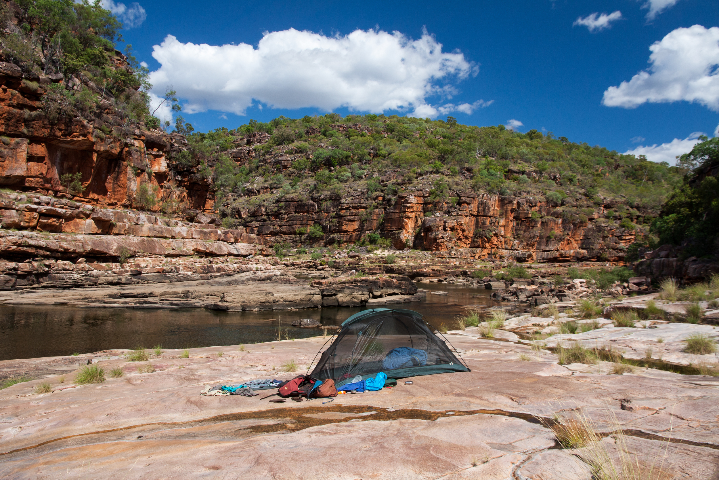 A riverside camp site in the Kimberley.  © Matt Le Feuvre.