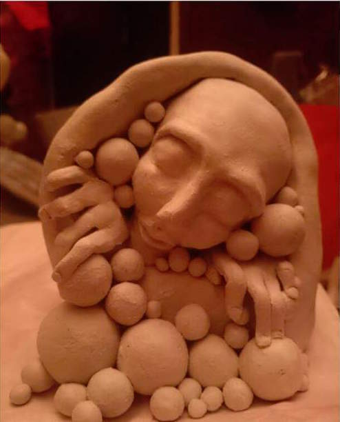 "Clay sculpture created under the influence of marijuana.  © ""Alice"" (used with permission)"