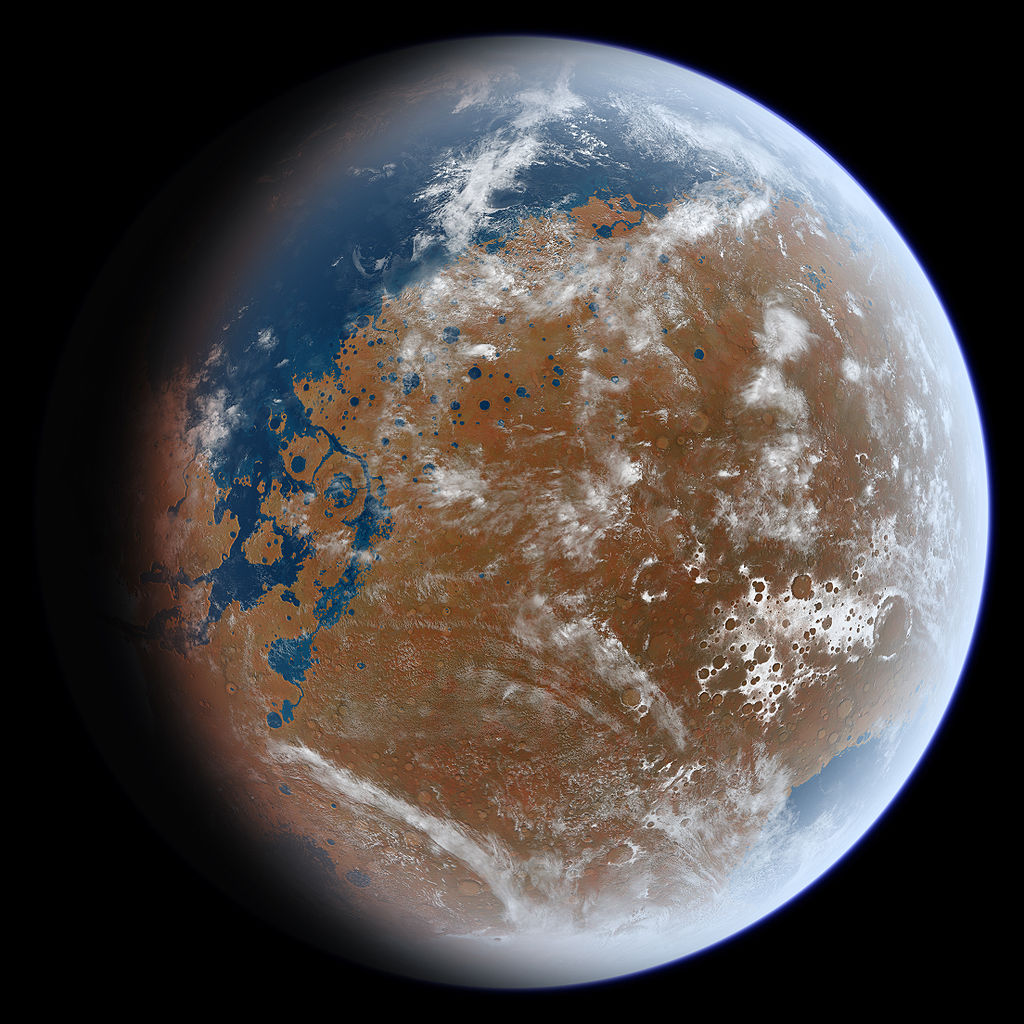 Artist impression of ancient Mars shows oceans which once covered around a fifth the planet's surface .  Ittiz/Wikimedia Commons  (CC BY-SA 3.0)