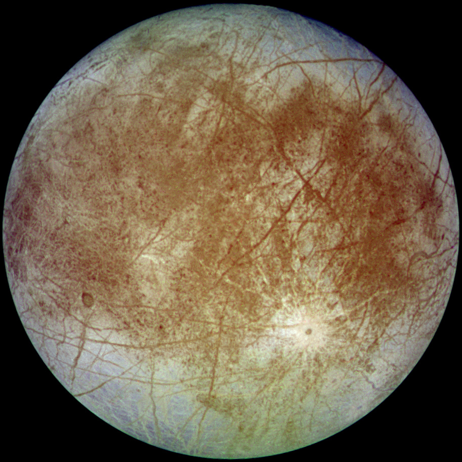 Some have theorised that the stripes on Europa's surface may be places where sections of the icy crust are cracked and splitting, similar to tectonic plates on Earth.   NASA/Wikimedia Commons  (public domain)