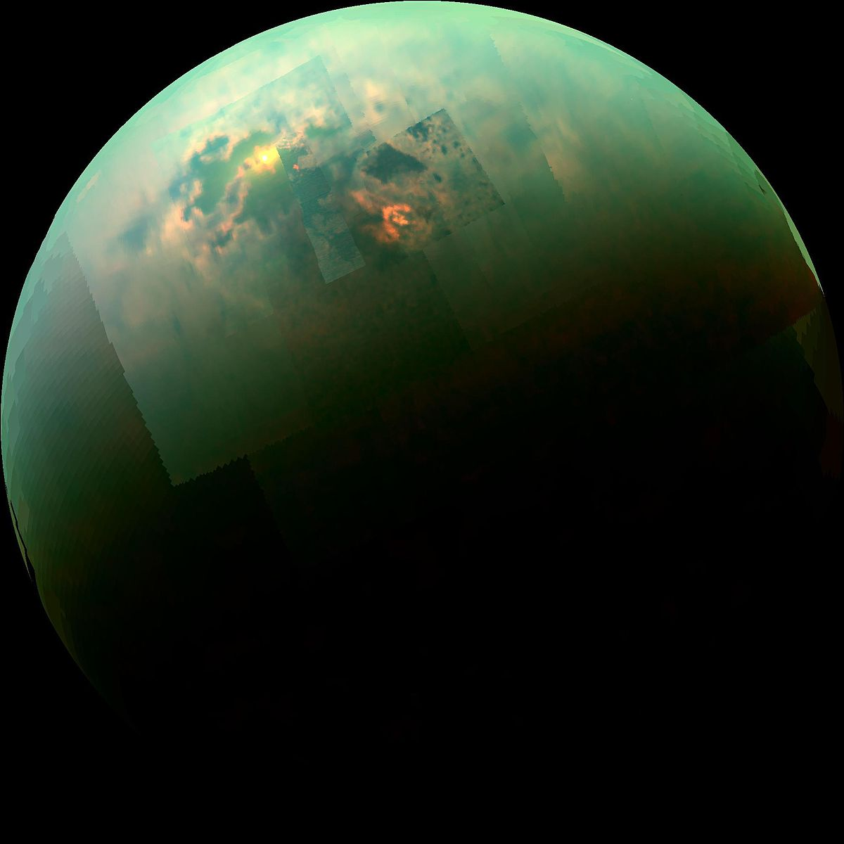 A composite photo from the Cassini spacecraft shows radiation from the Sun glinting off Titan's hydrocarbon seas.   NASA, JPL-Caltech, University of Arizona and University of Idaho/Wikimedia Commons  (public domain)