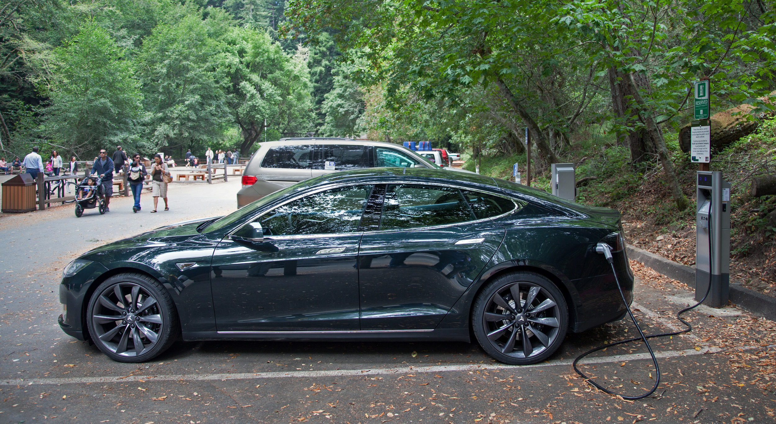 Electric cars such as the Tesla model S are only as good as their battery life, and nanomaterials have the potential to extend driving time on one charge.   Wikimedia Commons  (public domain)