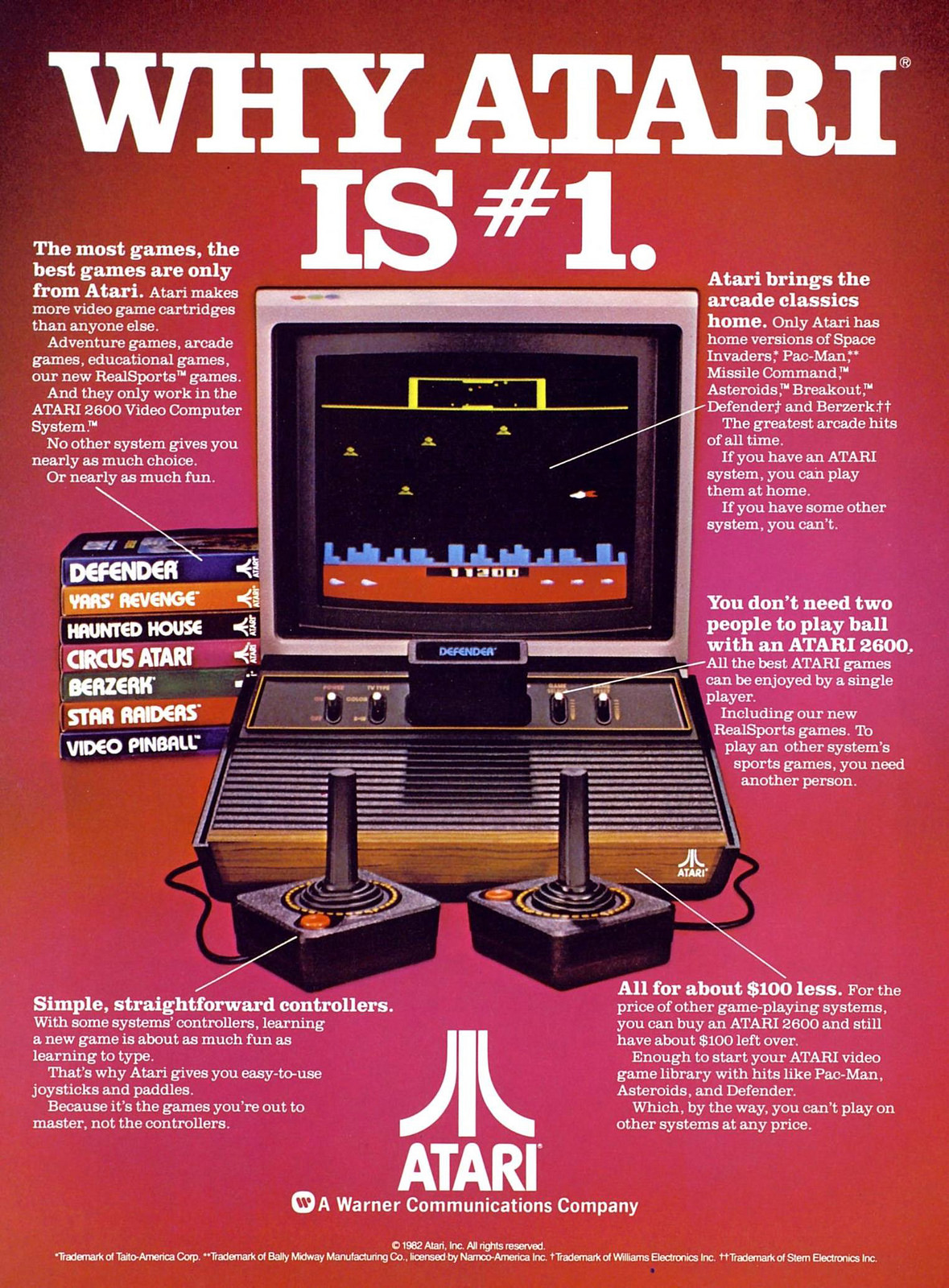 A 1982 advertisement for the Atari 2600 Video Computer. The first commercially successful home video game console, it took interchangeable game cartridges and had joystick controllers.   Tod Simpson/VisualHunt  (CC BY-NC-ND 2.0)