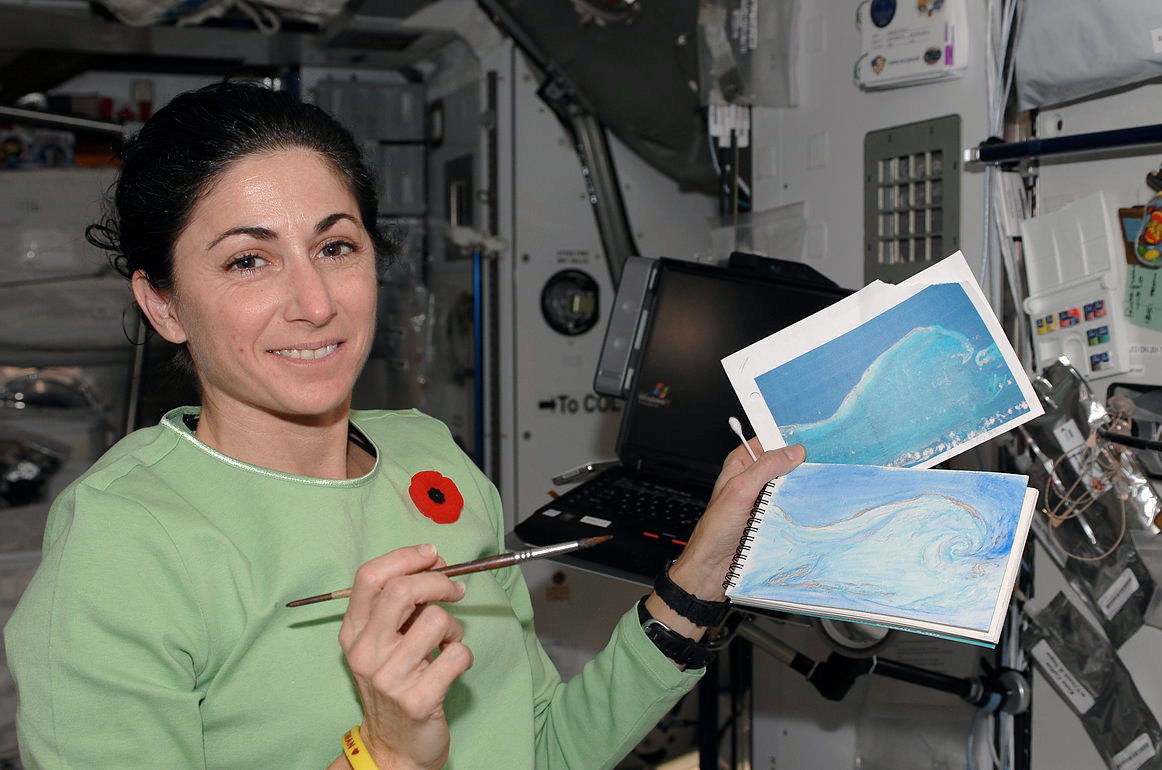 """Astronaut Nicole Stott on board the International Space Station Expedition on October 21, 2009. Stott's painting """"The Wave"""", is based on a photograph she took of Isla Los Roques, Venezuela, through the window of the Russian Service Module.  Image courtesy of NASA (CC BY-NC 2.0)"""