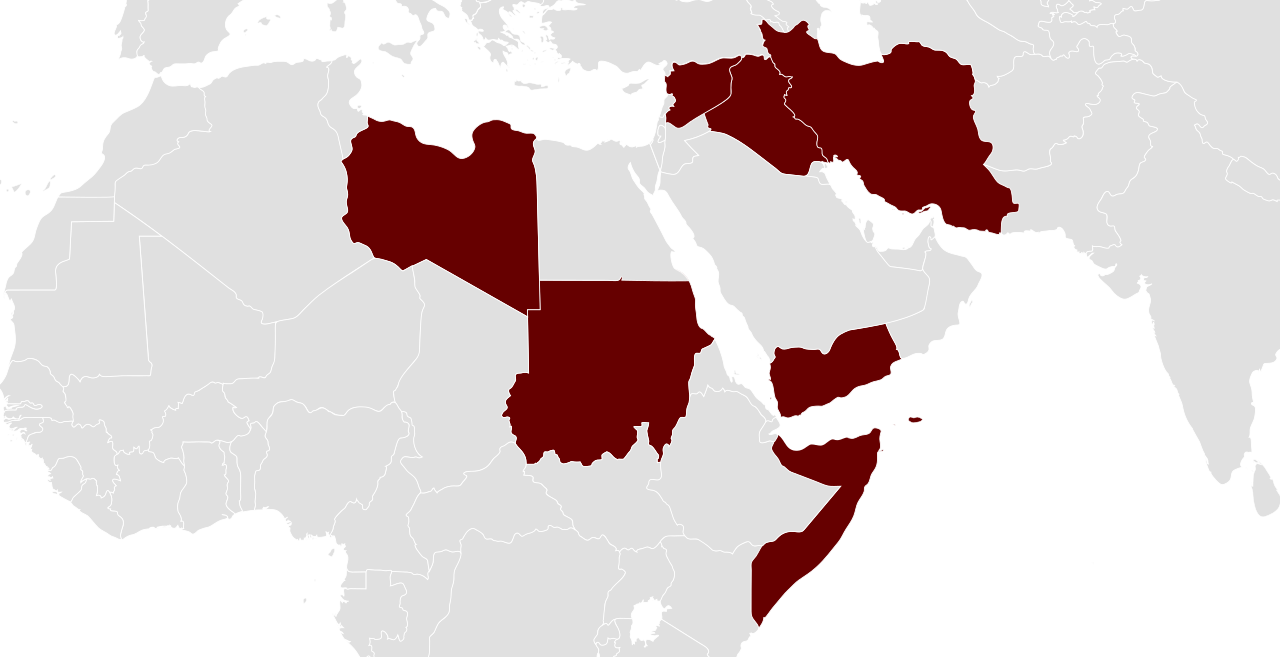 On 27 January 2017, President Trump signed an executive order to temporarily ban travel from seven Muslim-majority countries: Iran, Iraq, Libya, Somalia, Sudan, Syria and Yemen.   JayCoop/Wikimedia Commons  (CC BY-SA 4.0)