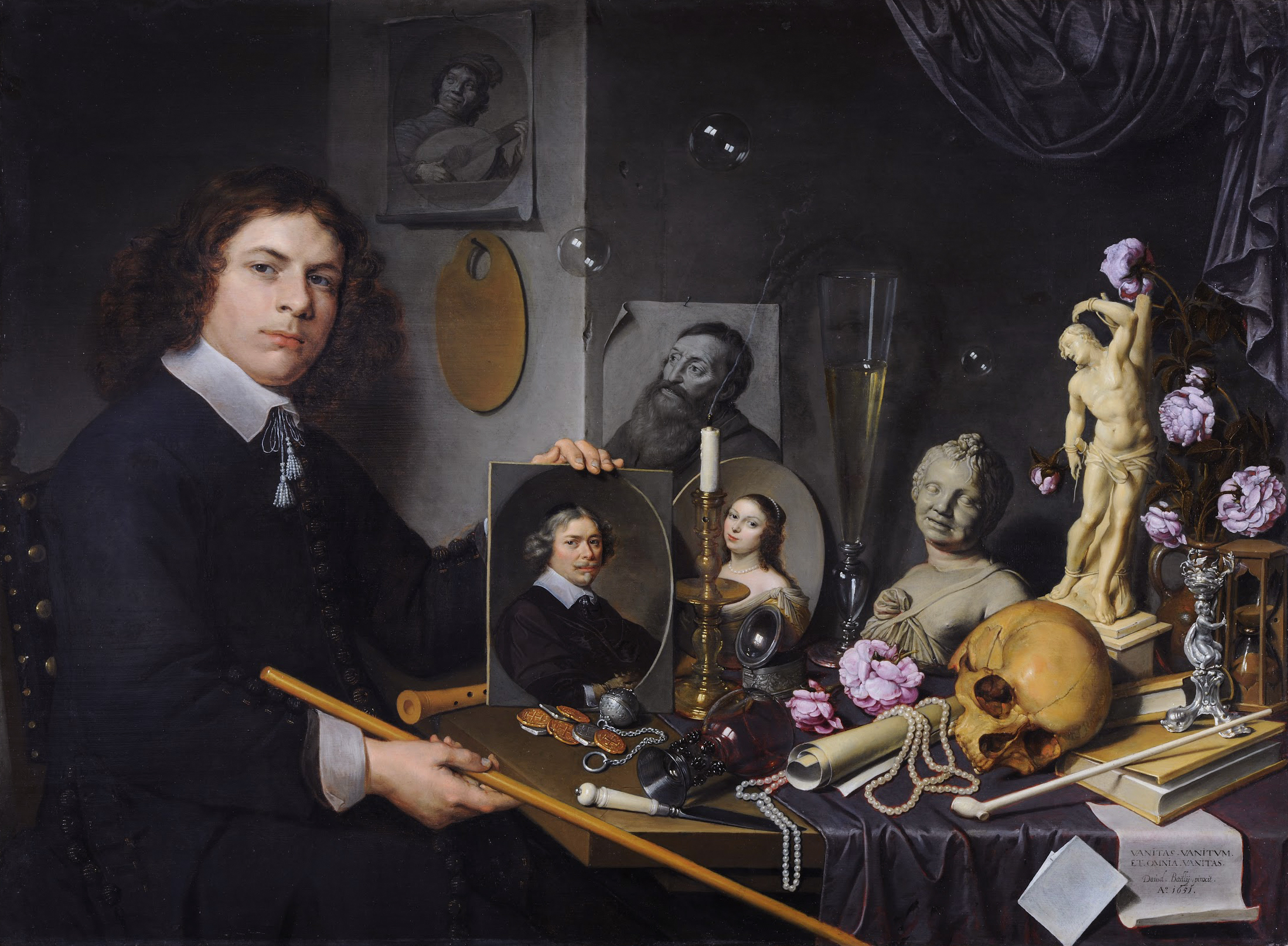 "A self-portrait within a self-portrait. ""Self Portrait with Vanitas Symbols"" by David Bailly circa 1651.   Web Gallery of Art/Wikimedia Commons  (public domain)"